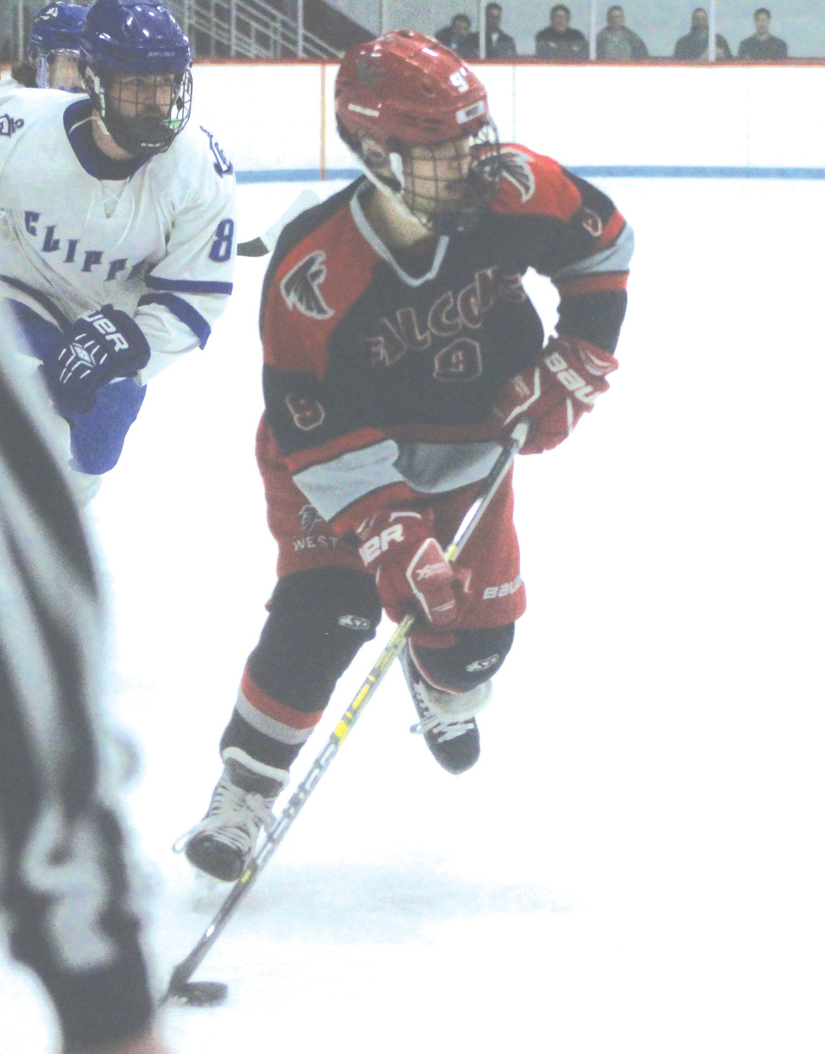 UP THE ICE: Cranston West's Dylan Demers.
