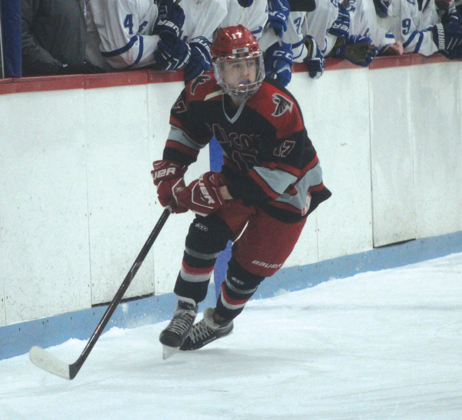 ALONG THE BOARDS: West's Andrew Martin during Game 1 against Cumberland.