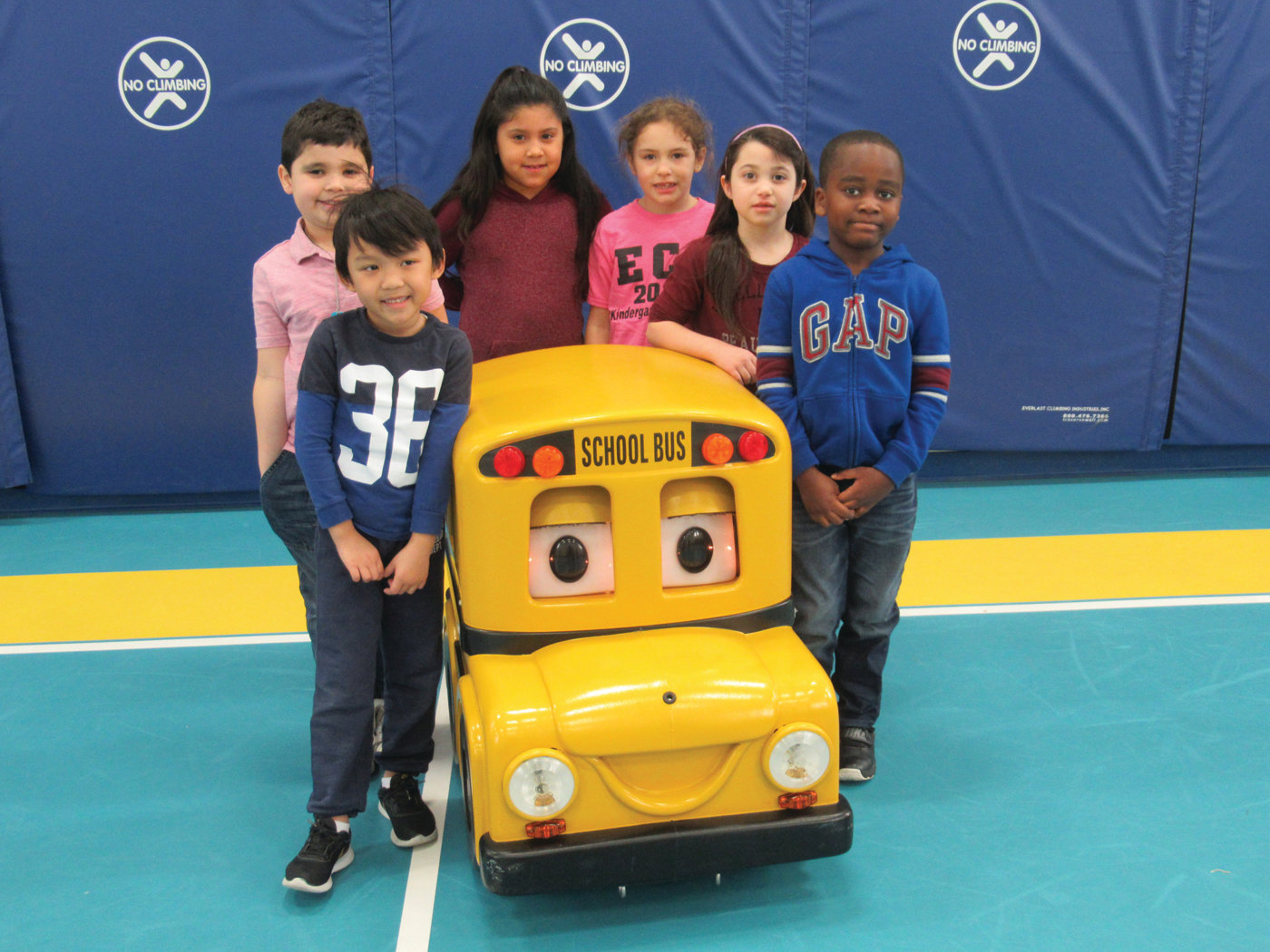 "SPECIAL SPEAKER: Buster the Bus, a talking remote controlled school bus, begins his ""enrichment lesson"" during Tuesday morning's visit to Winsor Hill Elementary School in Johnston."