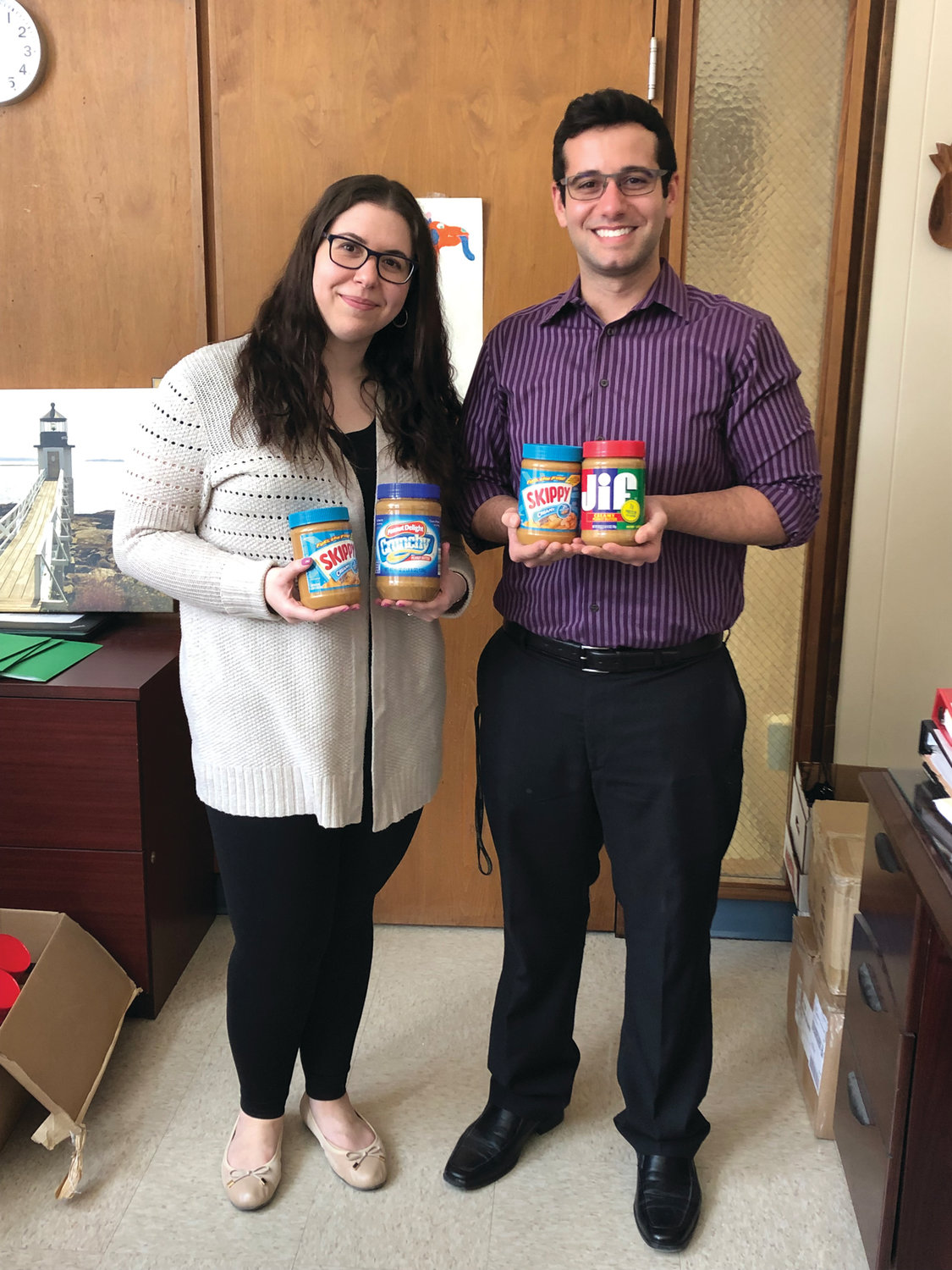 Class of 2020 advisers Nadia Cricco and Vinny Verardo have helped lead the charge in collecting jars and cash donations to help the school win again.