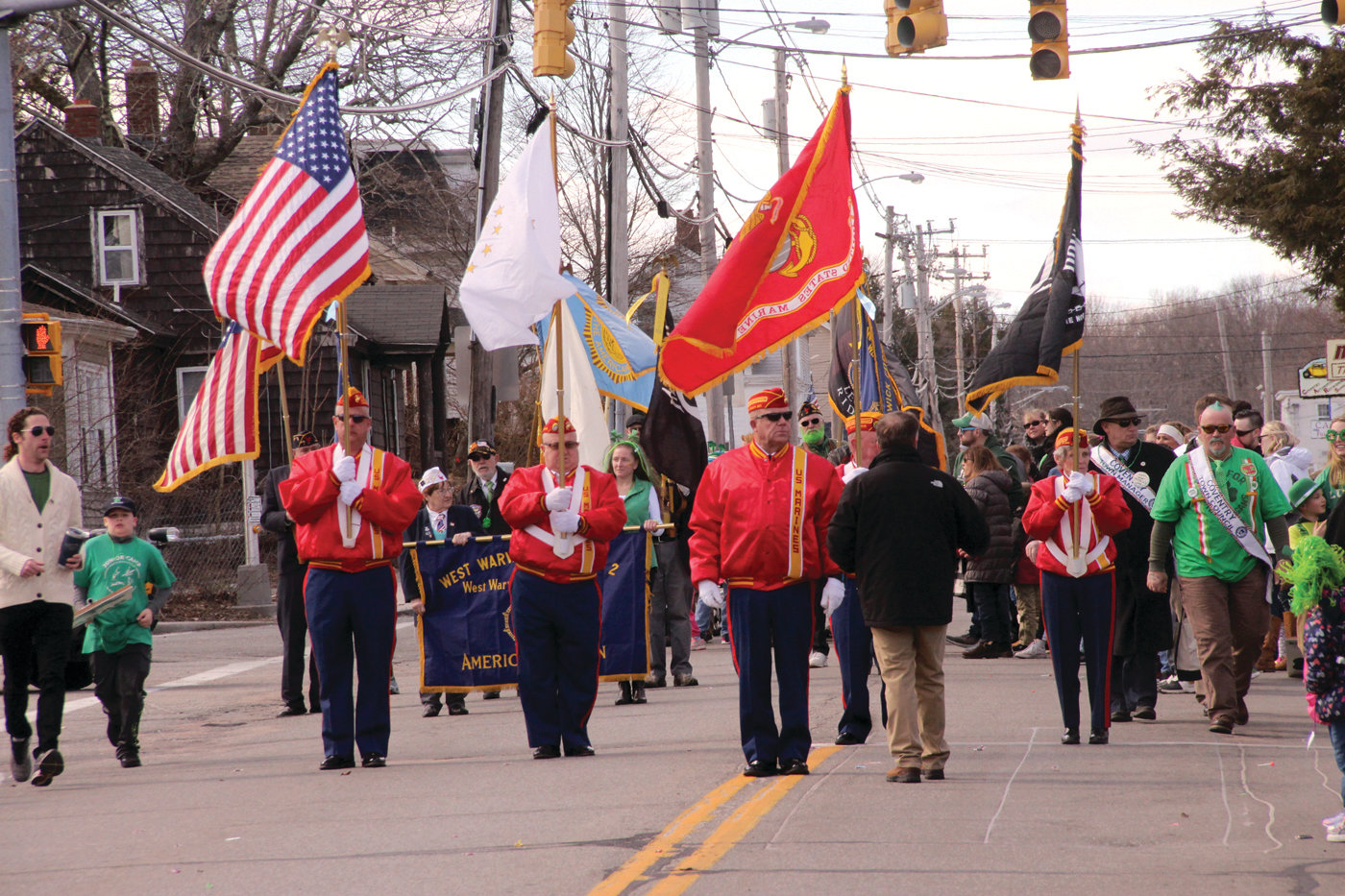 YOU COULDN'T MISS THEM: The Marine Corps Reserves carried the colors and added a note of reverence to the parade.