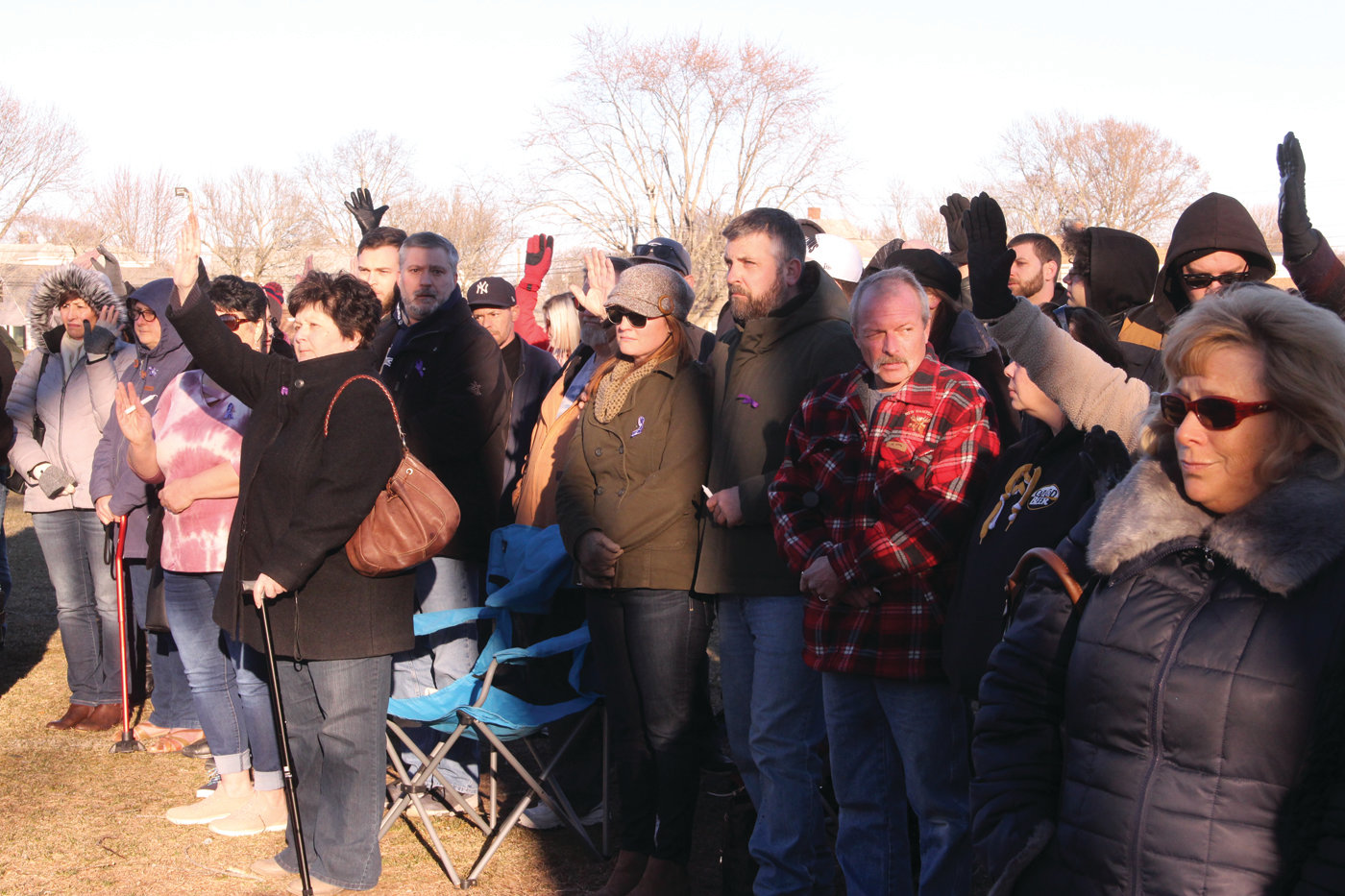 CLOSE TO HOME: Many of those in attendance for a March vigil in honor of the late Lauren Ise raised their hands when Paul Ruo asked how many knew someone who has been affected by domestic violence.
