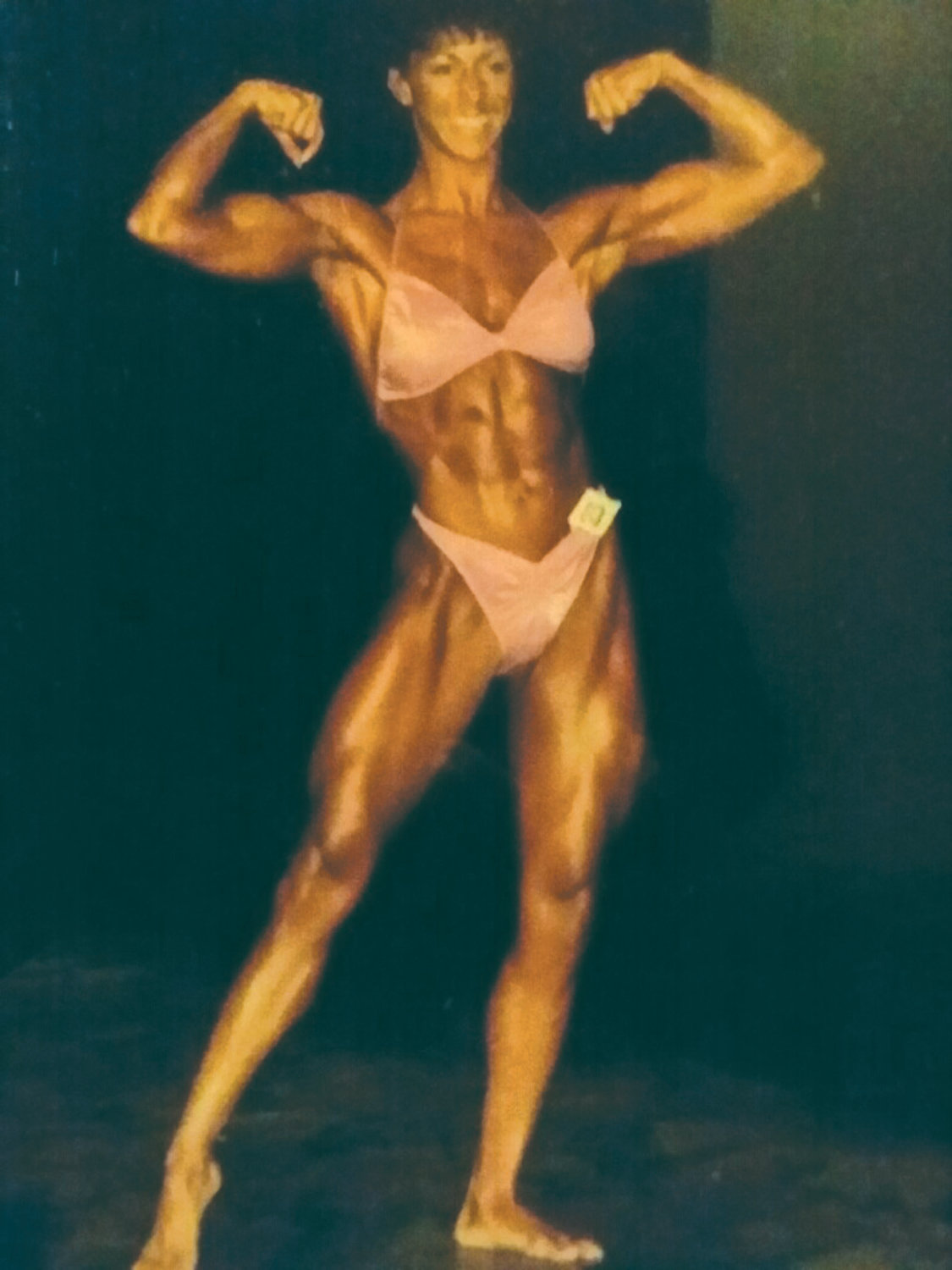 STAYING FIT: Sue Flesia competes in a body building competition.