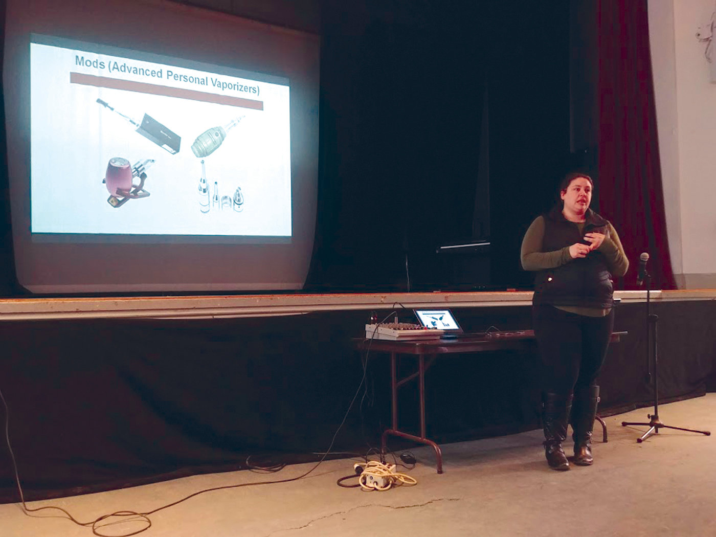 LEARNING THE LINGO: Katelyn Bianco from the Cranston Substance Abuse Task Force helped to educate the students at each of the middle schools about the dangers of vaping and the serious effects of the chemicals contained in e-cigarette pods.