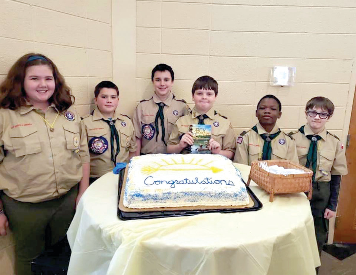 AT CEREMONY: From left, Kerran Kent, Caden Crandall, Michael Smith, Jude Ladino, William Oye and Dylan Valentine are pictured at the Feb. 24 Pack 1 Warwick ceremony.