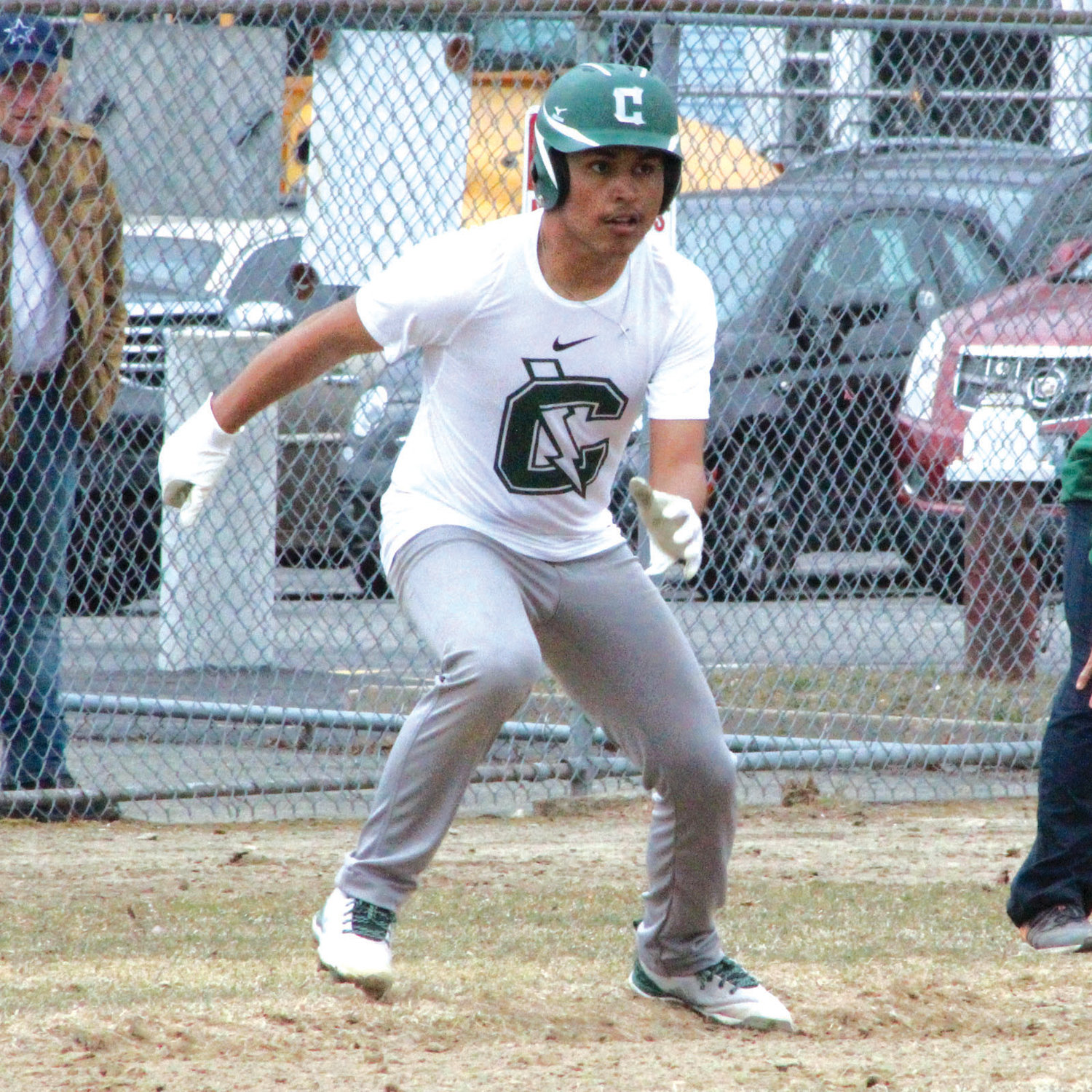 HEAD START: Cranston East's Chris Torres takes a lead off of third base in a recent scrimmage.