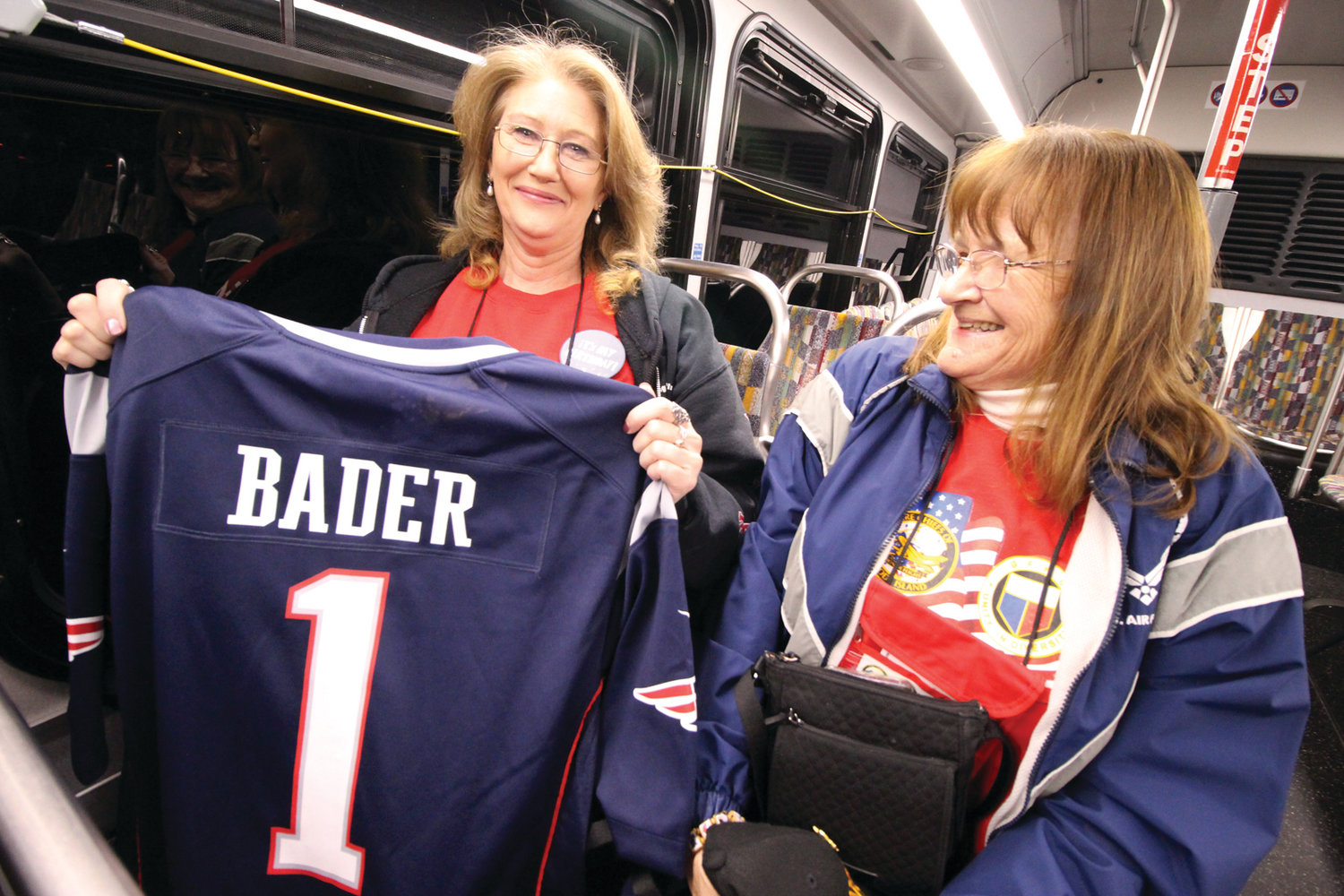 BIRTHDAY SURPRISE: Navy veteran Theresa Bader celebrated her birth on Saturday and, recognizing the special occasion, the New England Patriots gave her her own jersey. Bader served as a guardian to Susan Gustaitis during the Honor Flight.