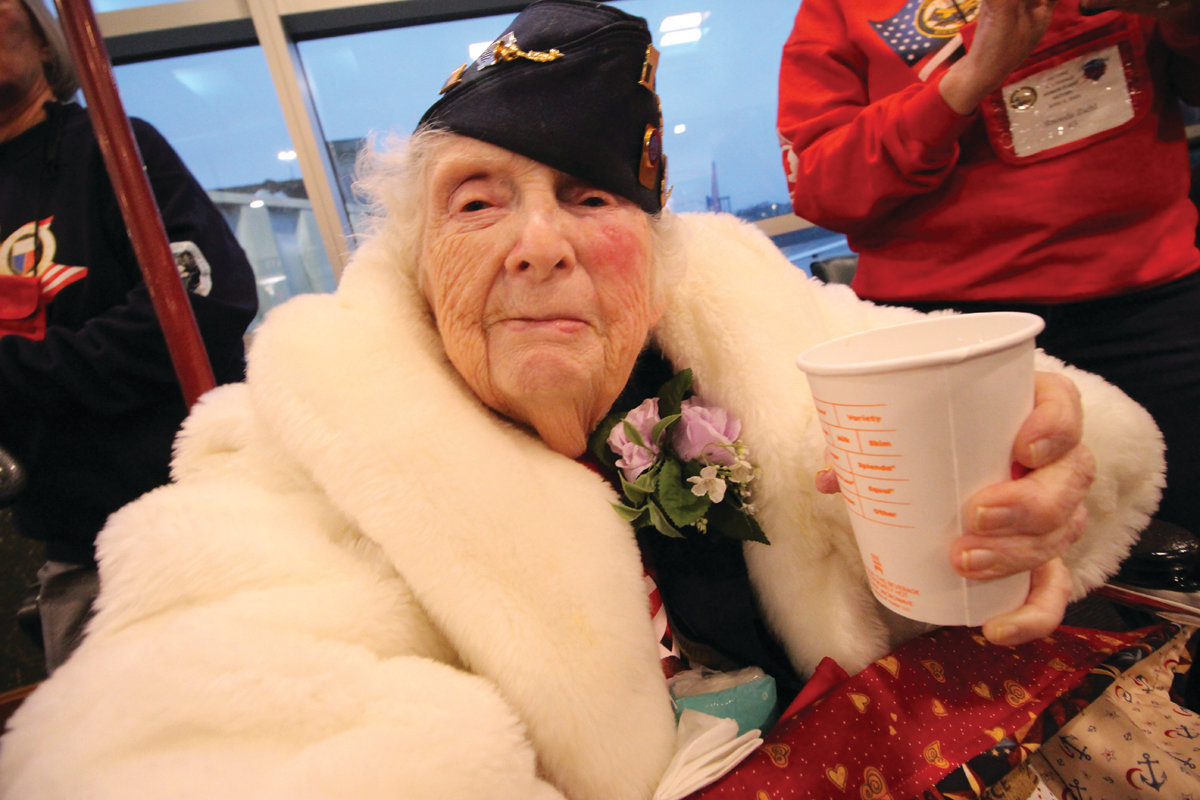 SHE HAD A WONDERFUL TIME: Coast Guard WWII veteran and Warwick resident Rosetta Desrosiers said she thoroughly enjoyed the honor flight. Here she waits to board the Southwest flight to Washington Saturday.