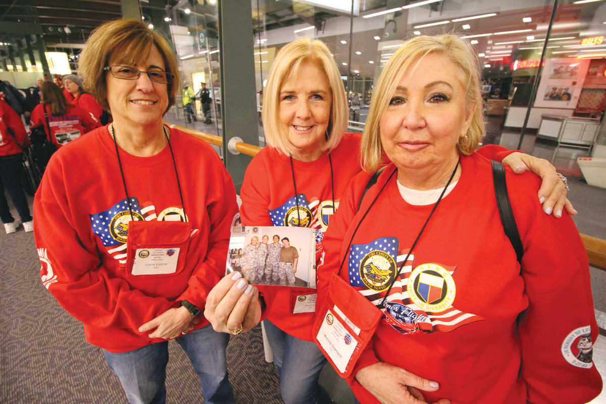 REUNION: Army nurses who served in Mosul, Iraq during Operation Iraqi Freedom, Gloria Vignone, Susan Luz and Michele Diamond all participated in Saturday's all-women veterans Honor Flight.