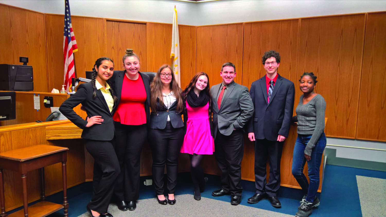 A SUCCESSFUL SEASON: The members of the Cranston West Mock Trial team pose together after another win. This season was the team's most successful yet, and the group made it to the semifinal round last week.