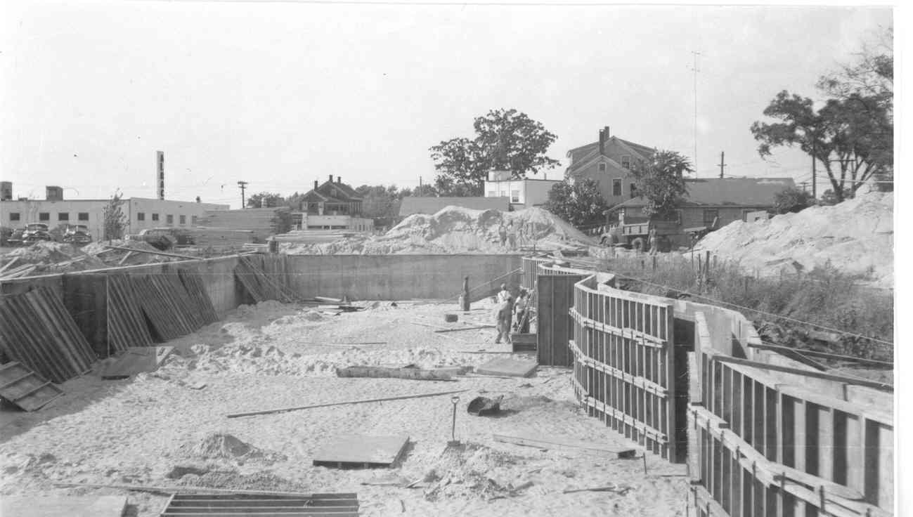 GOING IN: Forms define the basement for the plaza in the early stages of construction. Work started on the center in 1951.