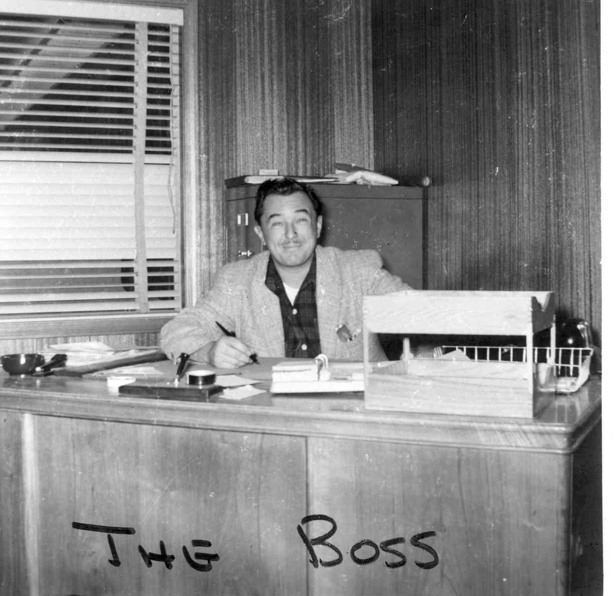THE BOSS: Clay's grandfather, Albert Shackleton Jr., at his desk. He died in 2016 at the age of 88.