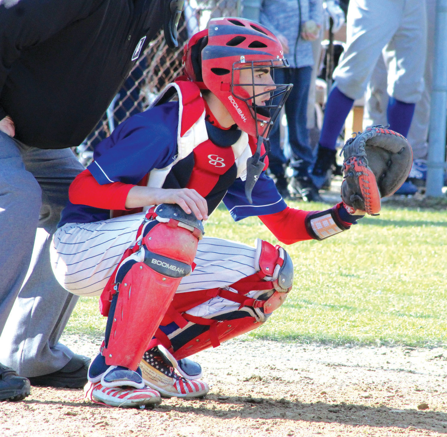 BEHIND THE PLATE: Warwick Vets catcher Dylan Roberts behind the plate against Park View.