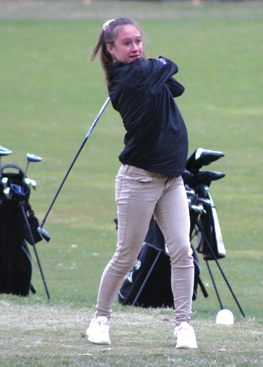 SWINGING AWAY: Pilgrim's Emma Williams tees off at a match last week.