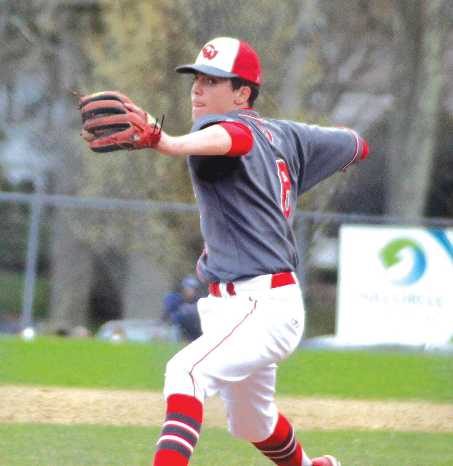 ON THE MOUND: Cranston West pitcher Massimo Feroce gets set to deliver against Johnston last week. The Falcons topped the Panthers in a 4-1 win. Feroce pitched a complete game.