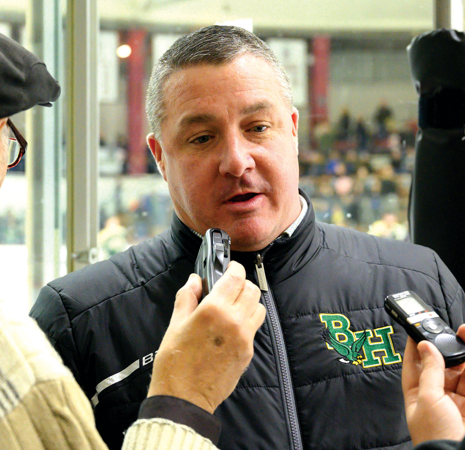 END OF AN ERA: Bishop Hendricken hockey coach Jim Creamer after winning the 2018-19 state championship.