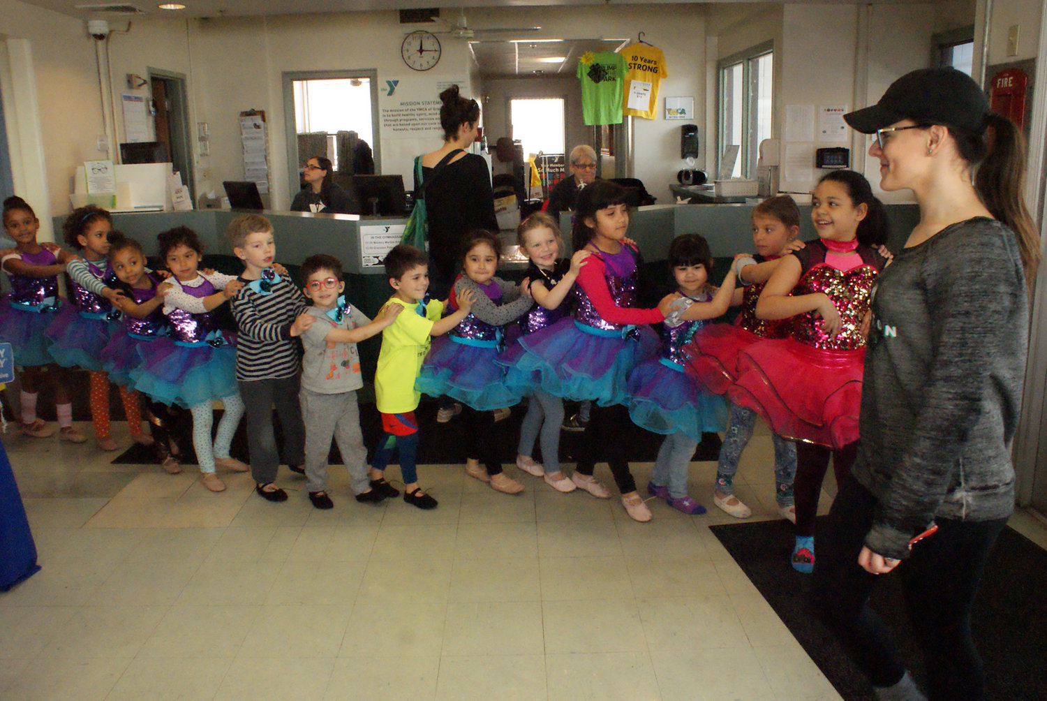 LINE DANCE: Children who are involved in the Cranston YMCA Saturday Dance Class, called Combo 2, showed off their moves during Healthy Kids Day.