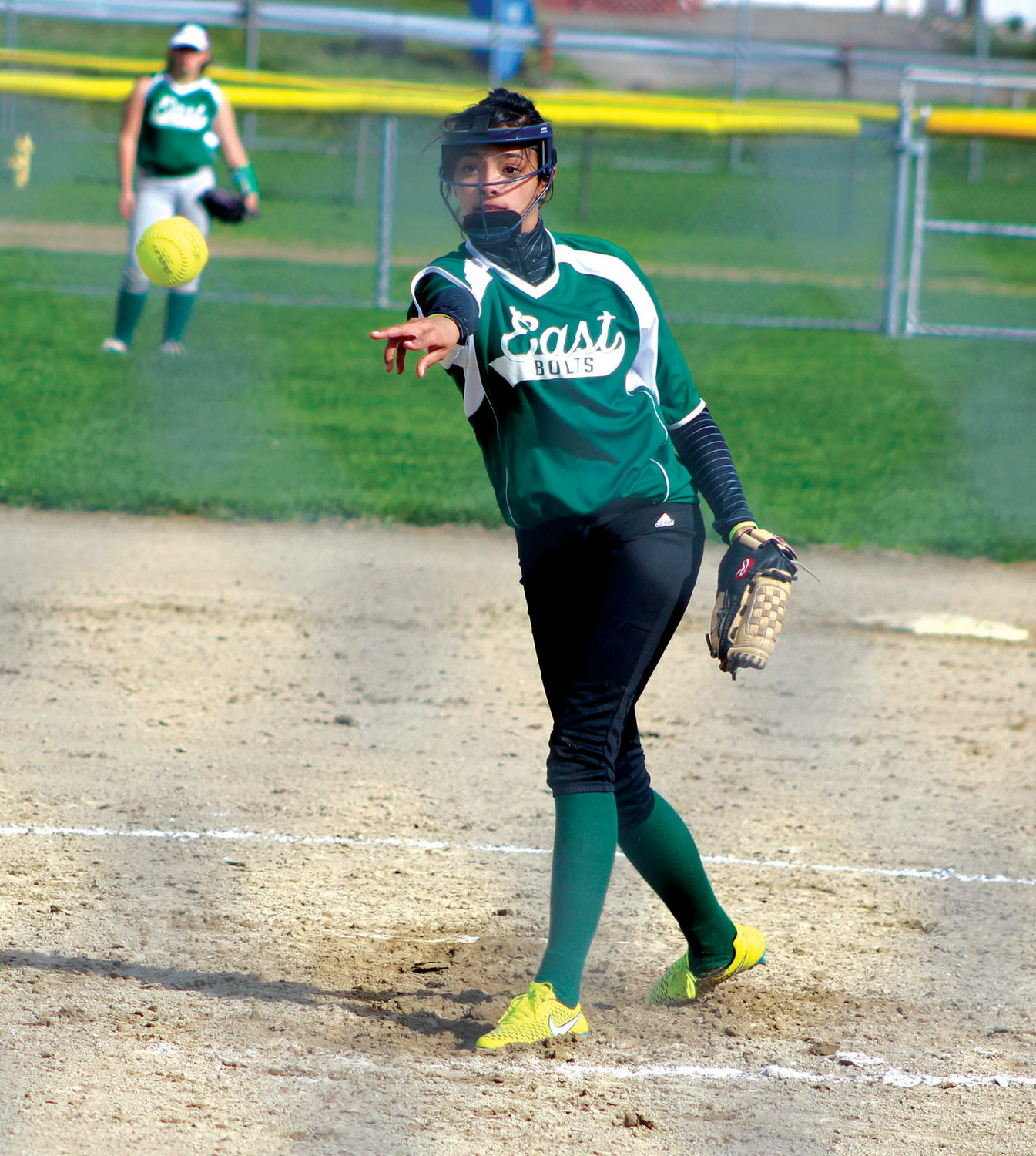 IN THE CIRCLE: East's Arianna Miech delivers a pitch against Toll Gate.