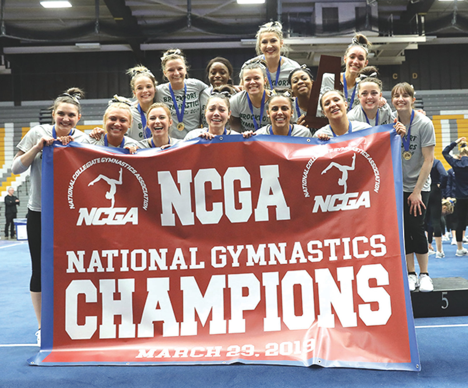 CHAMPS: The College at Brockport gymnastics team.