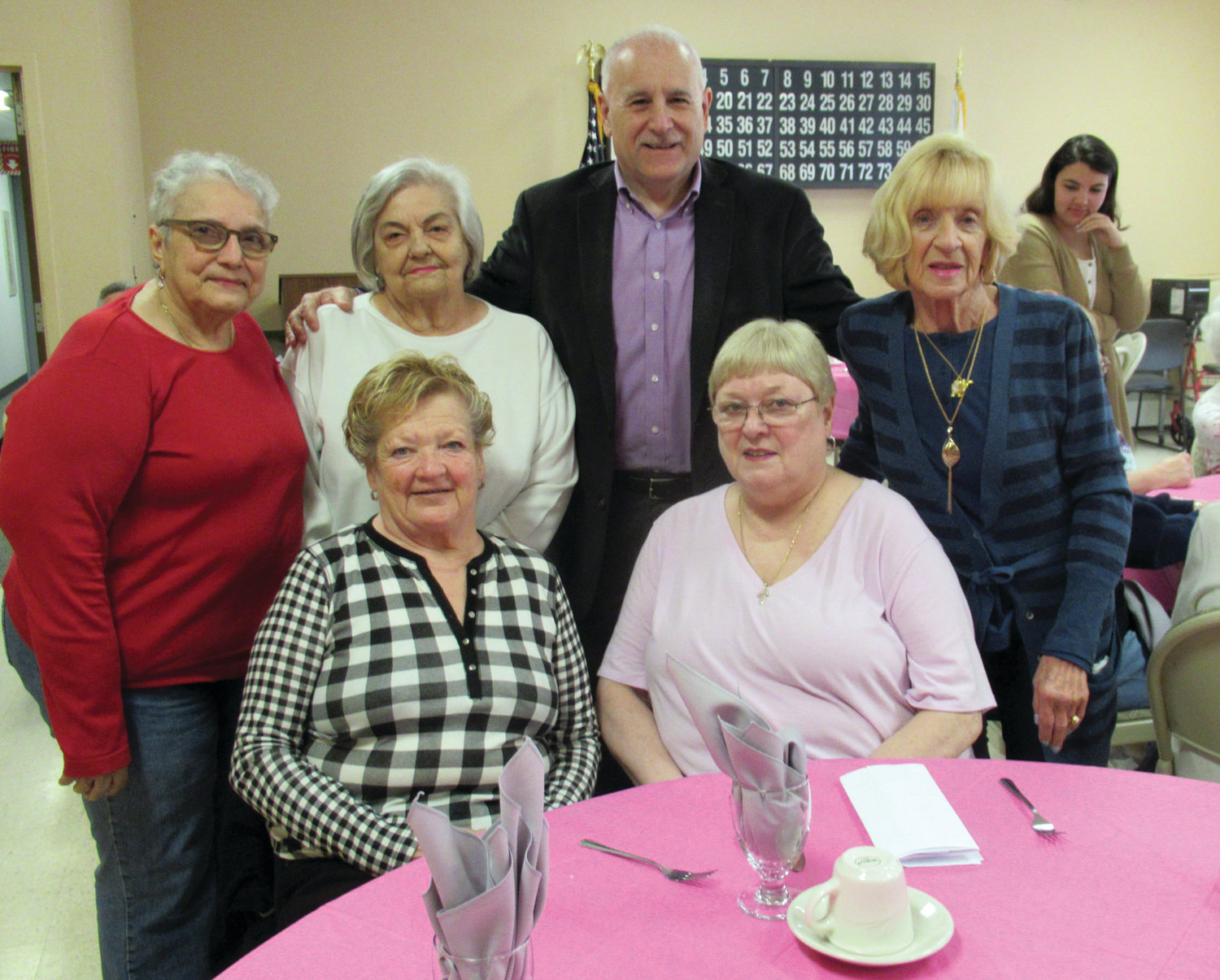 WARM WELCOME: Johnston Mayor Joseph Polisena received a warm welcome from members of the Pell Manor Tenants Association at last week's May Breakfast. The mayor is joined by, in front from left, Martha Church and a guest, and back from left, Anna DePasquale, Anna Murphy and Marie Andrews.