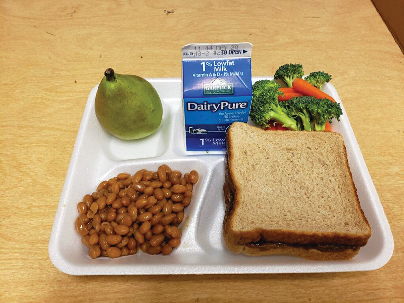"SHAMEFUL LUNCH? A picture provided by the Warwick superintendent's office shows what a lunch with a sunflower butter and jelly sandwich would look like. The meal is a regularly offered item but was categorized by many as a ""shame"" tactic that would out kids who had incurred debt, whether it was their fault or not."