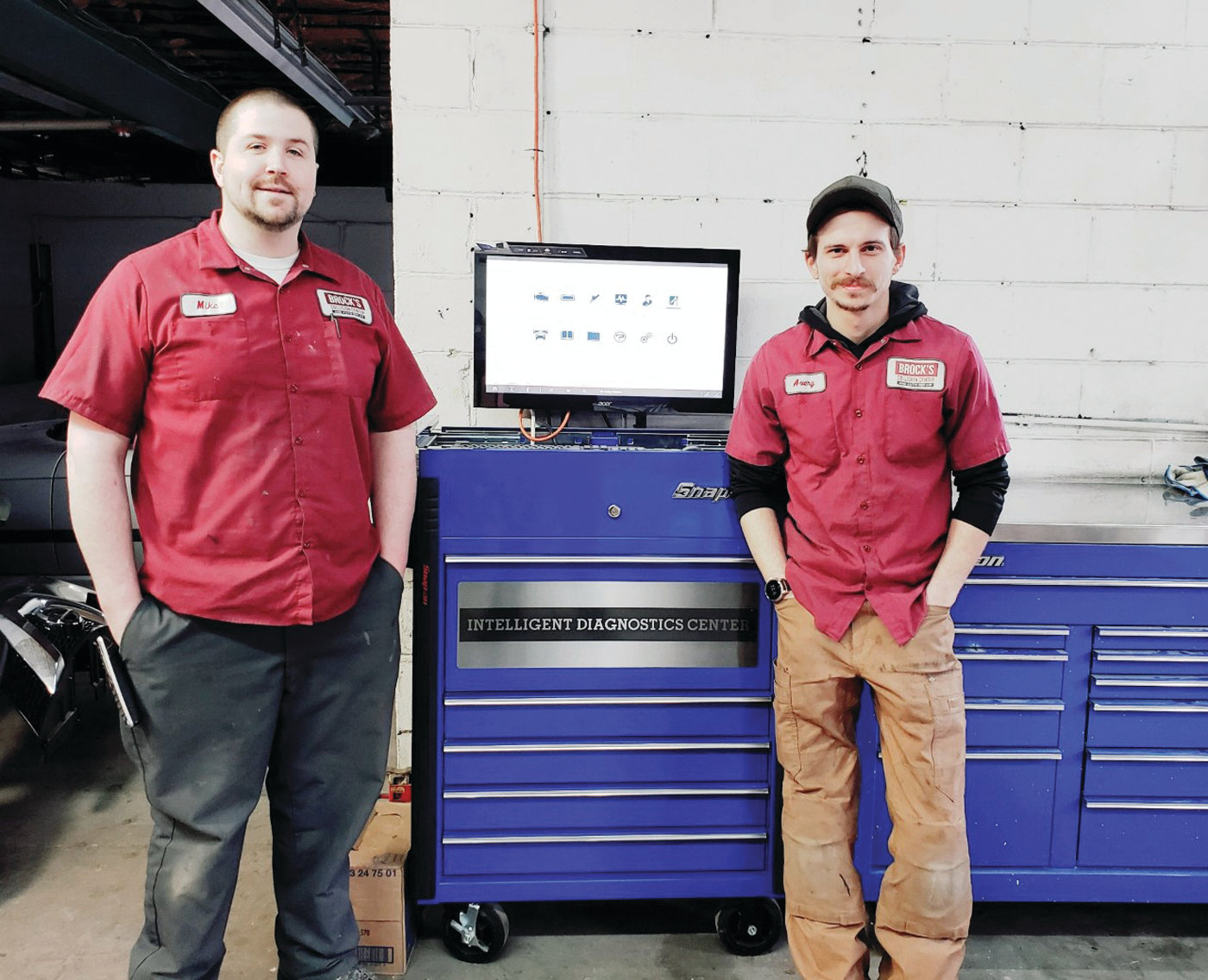 Avery Broccoli and Mike Thoin, the co-owners of Brock's Collision Center & Auto Repair in Apponaug, stand by their new Snap-On Zeus Intelligent Diagnostics Center. The workmanship of this team of professionals is methodical and detailed.  To see samples of their work, visit their website at www.brockscollisioncenter3066.com.