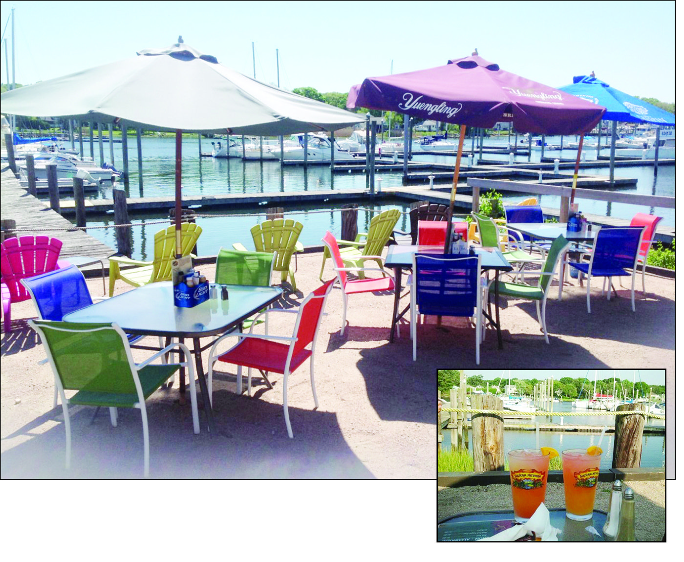 Bask in the sunshine, take in the view and satisfy your appetite with friends and neighbors at this casual pub overlooking Warwick Cove ~ County Cork Irish Pub. Summer hours mean more time to linger on the sun-bathed terrace or pull a stool up to the bar to watch the Red Sox!