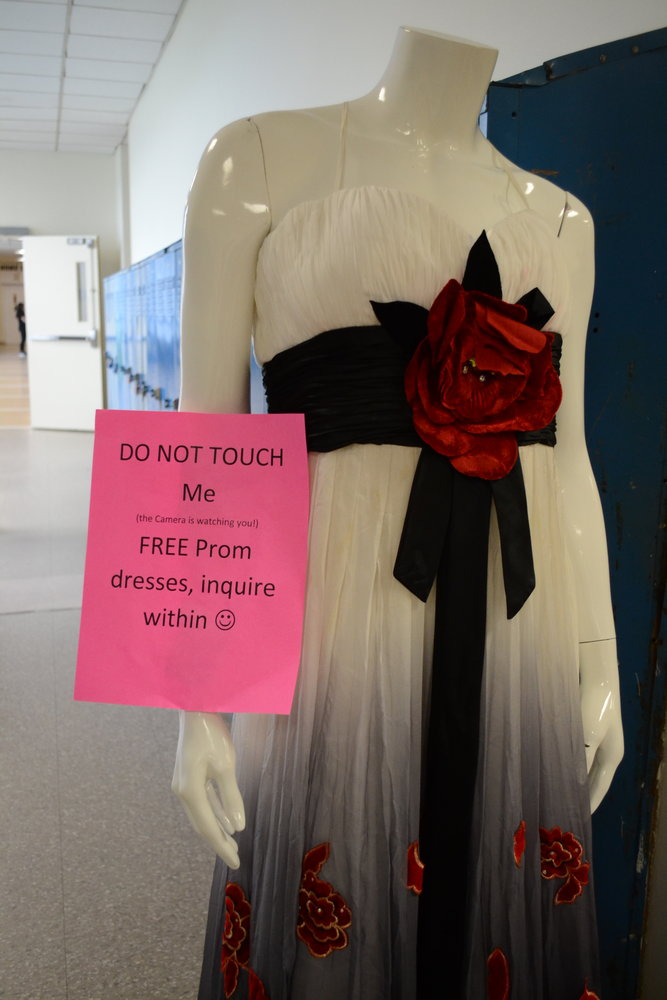 LOOK, BUT DON'T TOUCH: A mannequin set up outside Fanion's office is set up to draw intrigue into her charitable endeavor and to show how some of the dresses look on a person, rather than on a rack. Her name is Francesca.