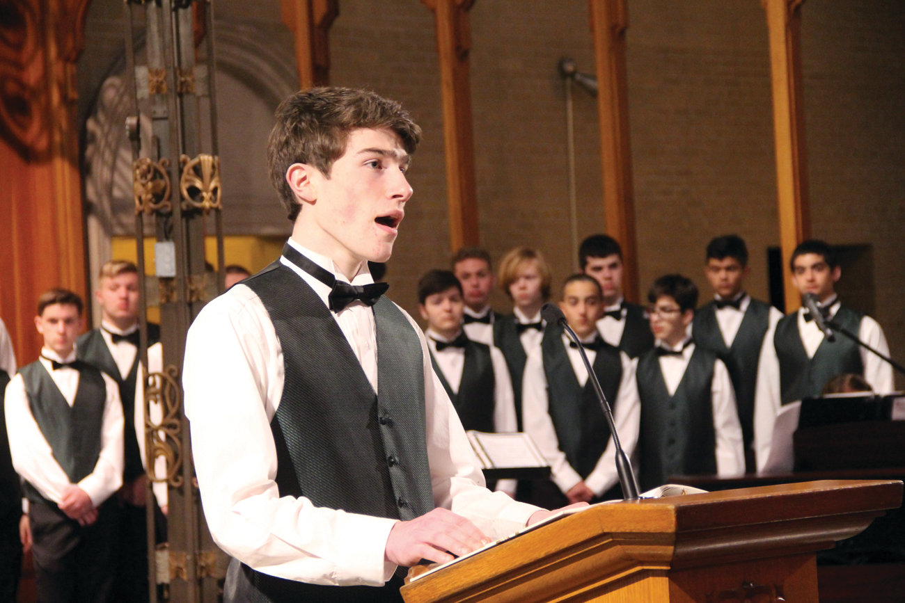 THE 23RD PSALM: Hendricken student Sean Connaughton performs a solo as part of the musical program during the Mass of Inauguration.