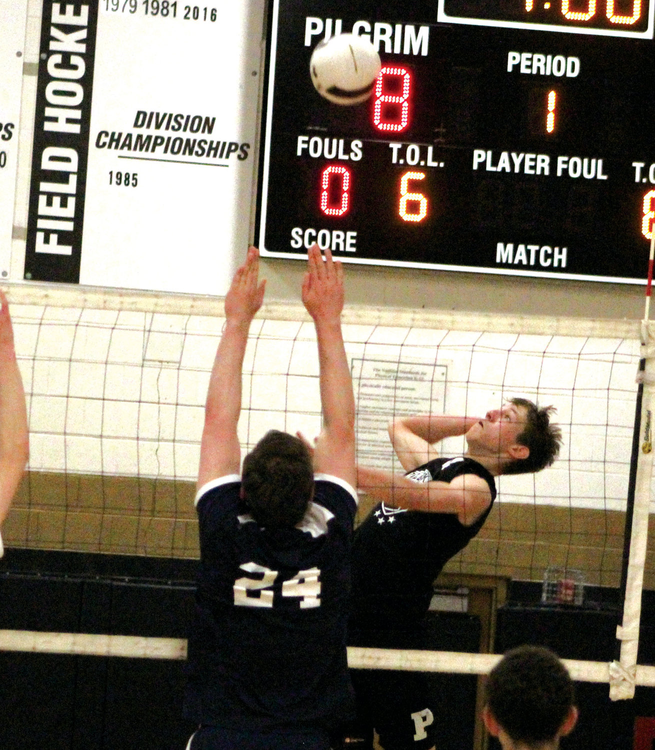 AIR BALL: Pilgrim's Ethan Laramee goes for a shot.