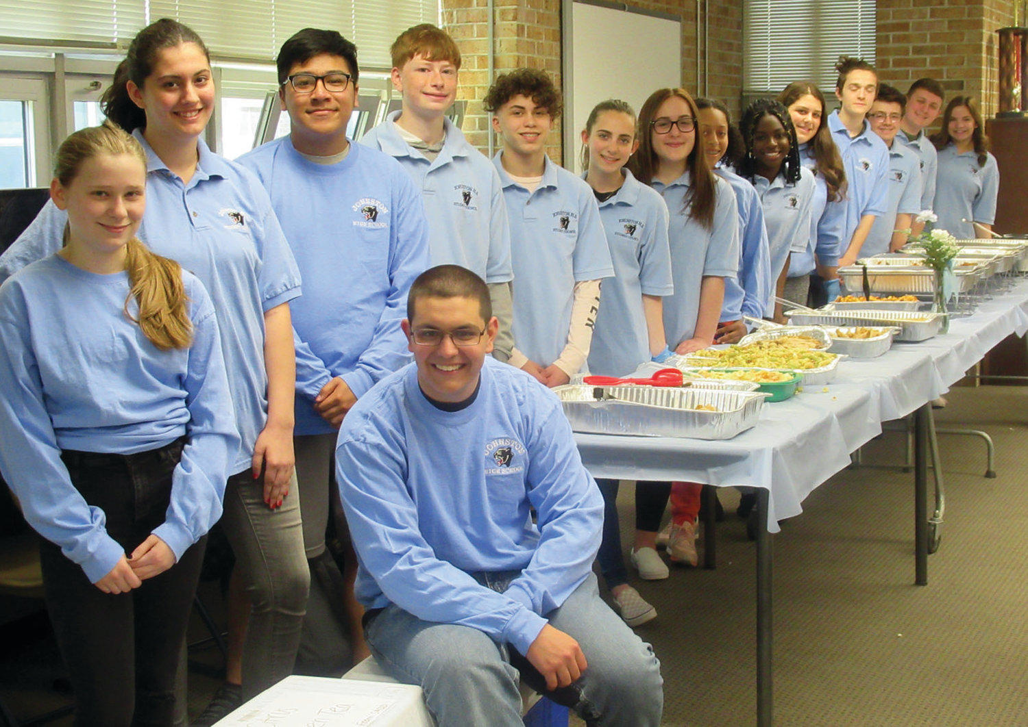 COUNCIL COOKS: The Johnston High School Student Council members who turned cooks for last Thursday's Teacher Appreciation Week Luncheon are, from left, Zachary Zambarano, Trista Clark, Sarah Monahan, Caleb Lee, Joe Boom, Carlos Monteiro, Charles Holhmier, Janet Clements, A'amani Maxi, Lala Olagundoye, Emily Raposo, Demetri Demetroplis, Nick Petrillo, Nick Cronan and Aria Petrella.