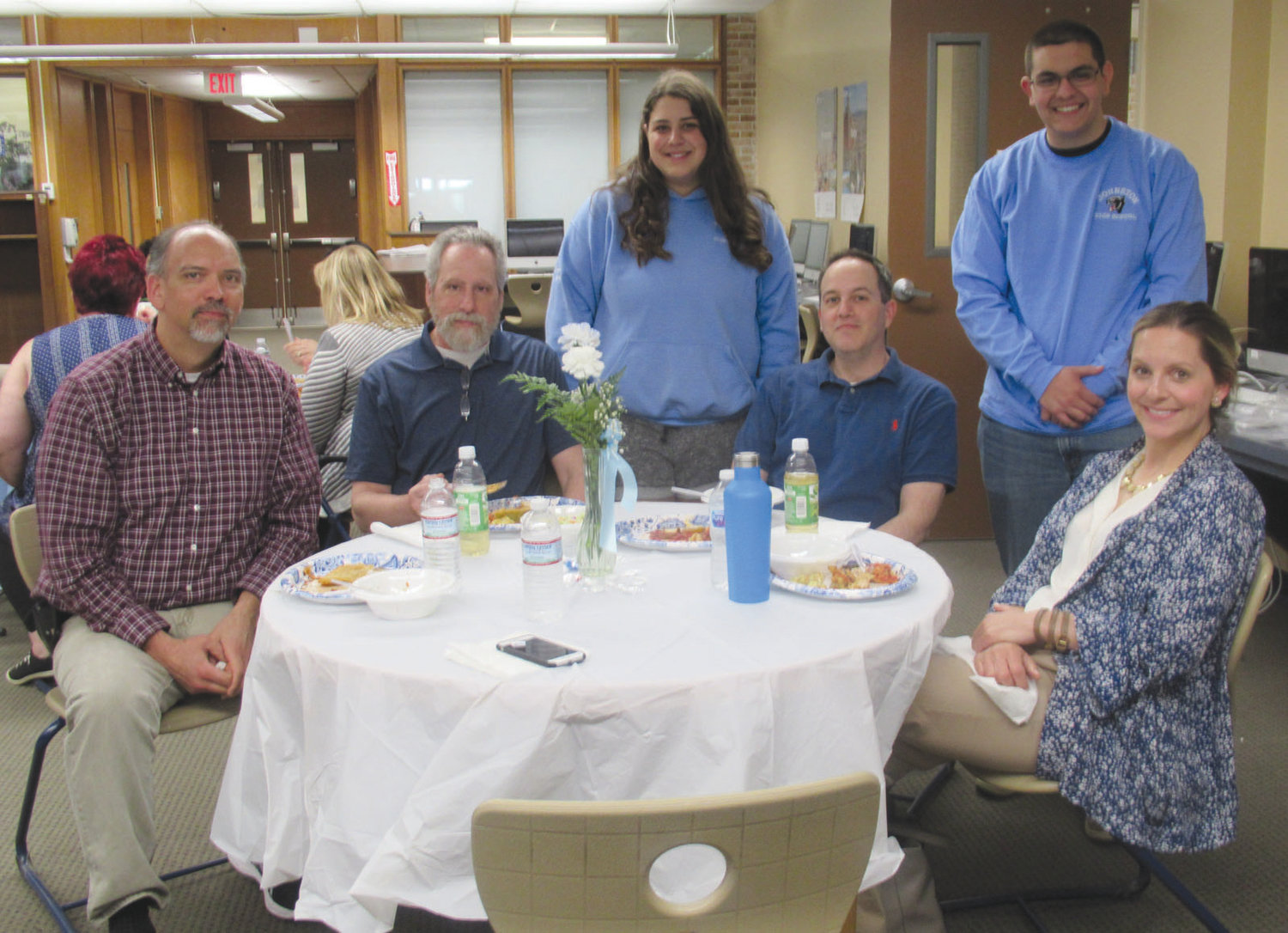 GRAND GUESTS: Student Council president Emily Raposo and senior class president Zachary Zambarano thank faculty members Tim Stahl, Ed Saravo, Doug DiPanni and Terri Florio for coming to the Teacher Appreciation Luncheon.