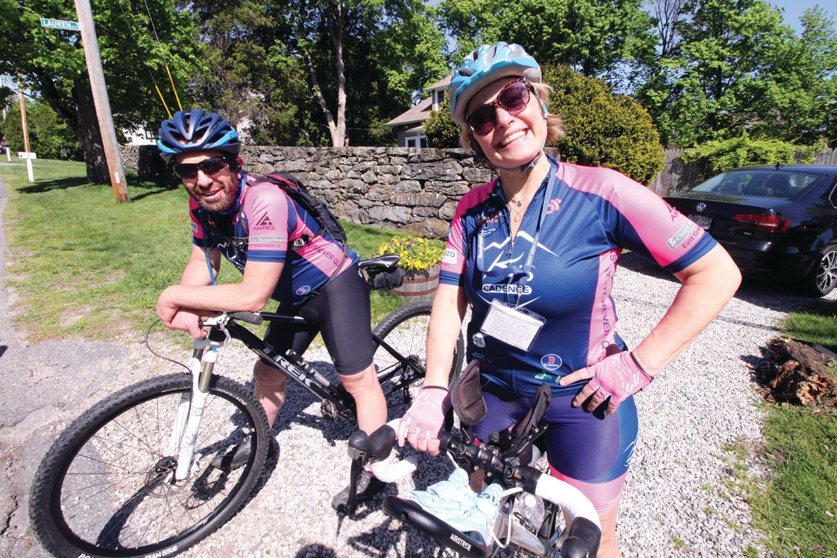 THE SWEEPERS: In the role of sweepers to make certain all participants were accounted for, Mark Centracchio and Patti Bacon leisurely rode the course on their bicycles.