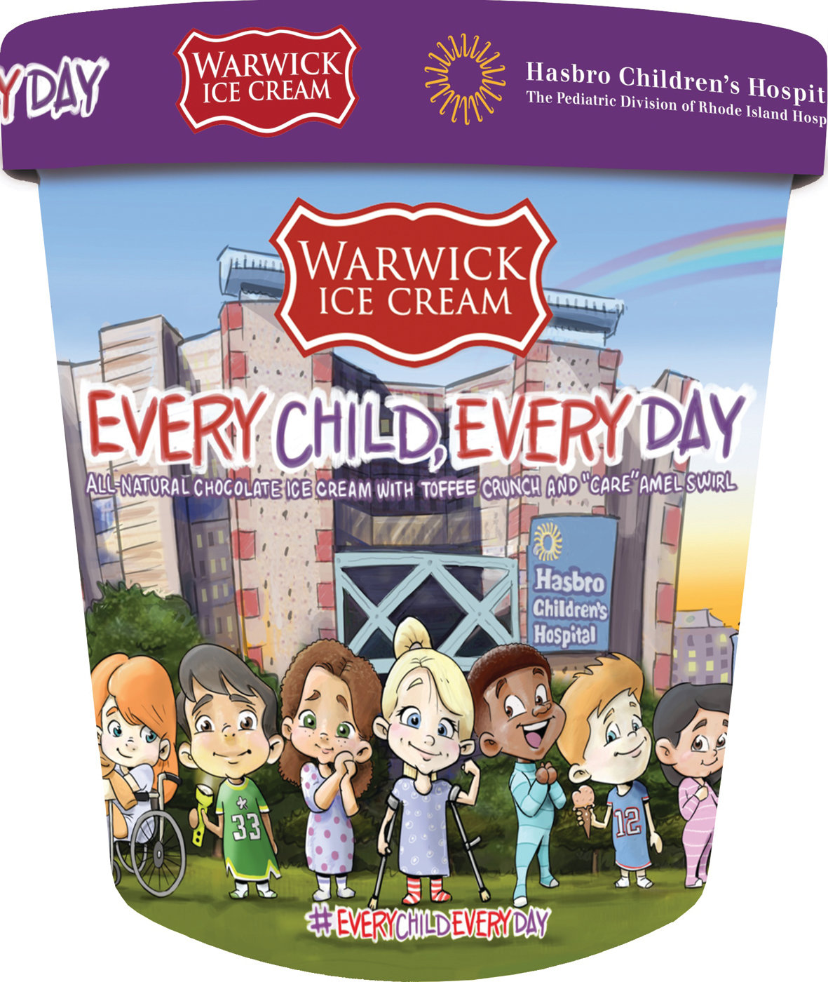 "I SCREAM FOR A GOOD CAUSE: The labeling for the new Warwick Ice Cream flavor, ""Every Child, Every Day,"" for which every pint sold a dollar, will be donated to Hasbro Children's Hospital's capital campaign."