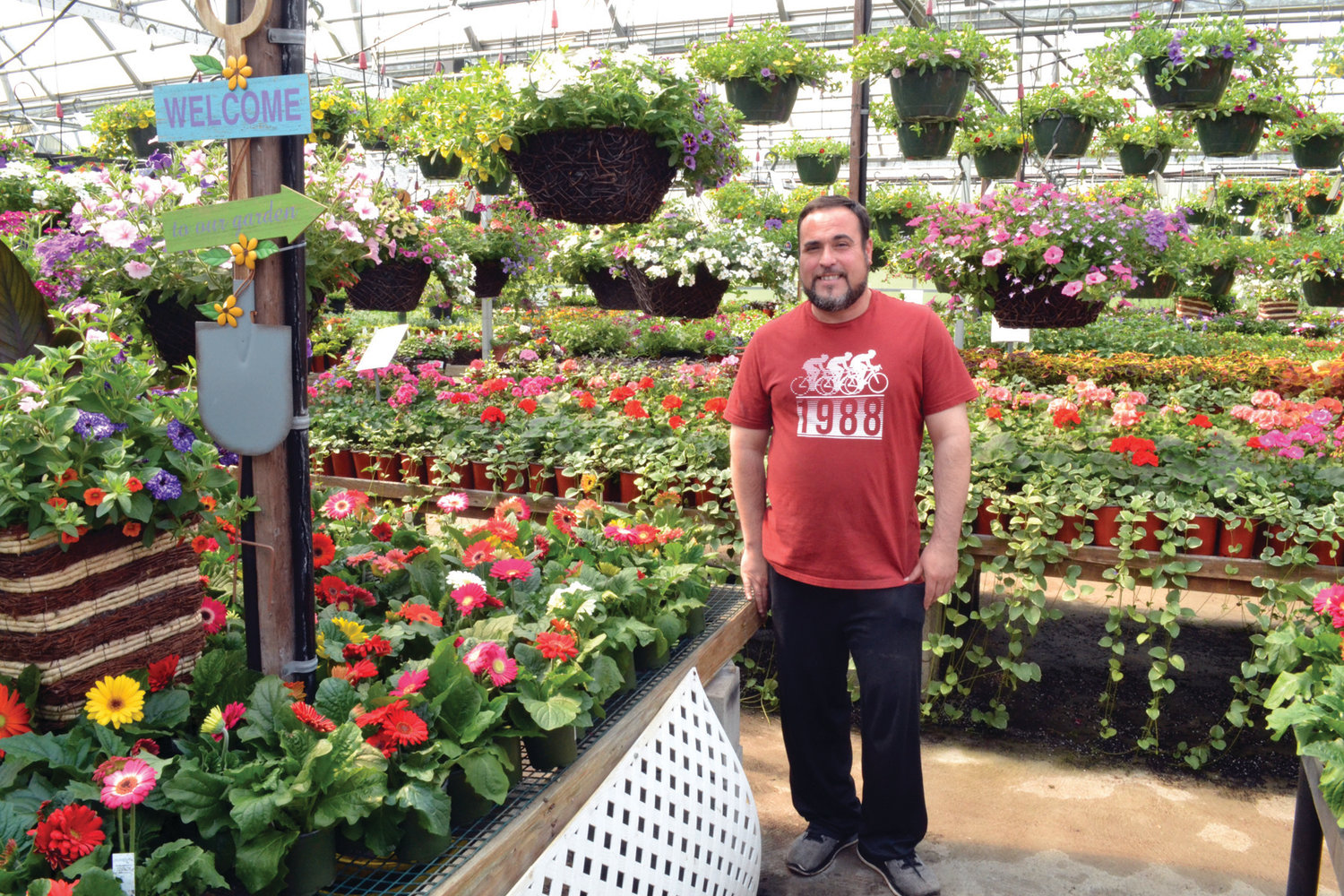 SUNSHINE IS HERE AGAIN: Atwood Greenhouses owner and operator Mike Macera said he is always happy to come to work early and see the vibrant colors in his greenhouses, but last Thursday was a special delight with spring-like temperatures and strong sunlight.