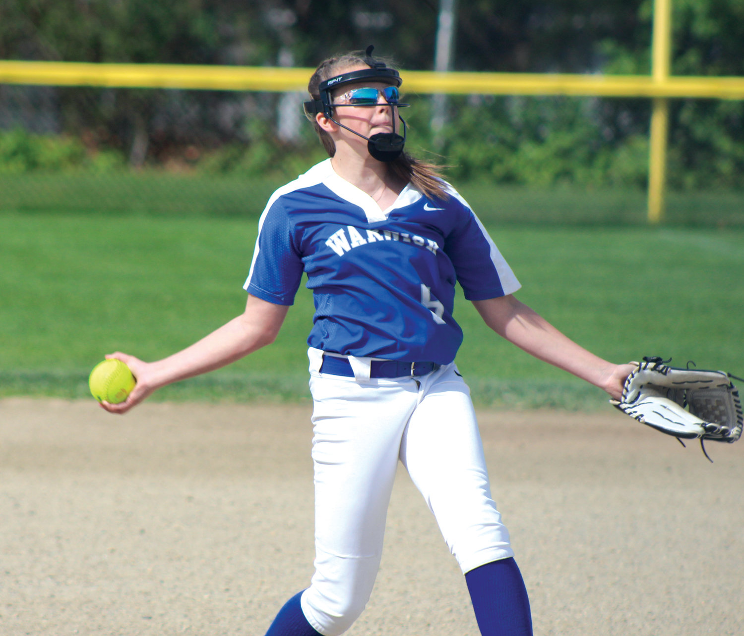 IN THE CIRCLE: Warwick Vets pitcher Alyssa Twomey delivers against Park View during the team's regular season finale at Vets last week. The Hurricanes have had a big 2019 spring, finishing the season undefeated and as the favorite to win the state championship next month at Rhode Island College.