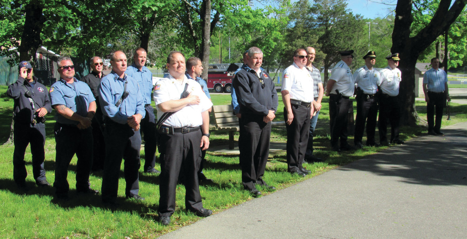 SPECIAL SUPPORTERS: This contingent of Johnston firefighters helped make Friday's Memorial Day special.