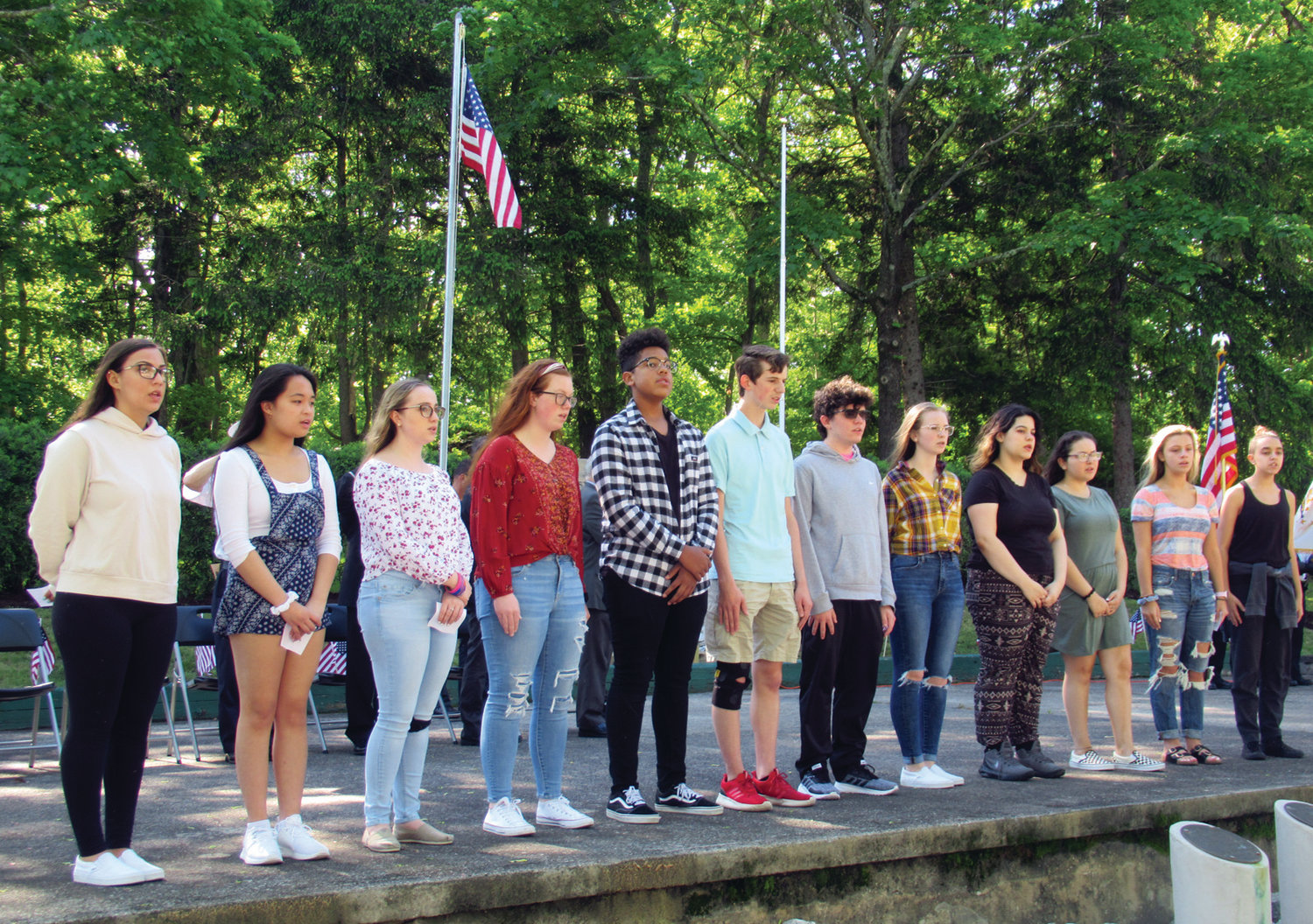 CLASSIC CHORUS: These are members of the Matt Gingras-directed Johnston High School Chorus who provided the music during Friday's Memorial Day Ceremony inside War Memorial Park.