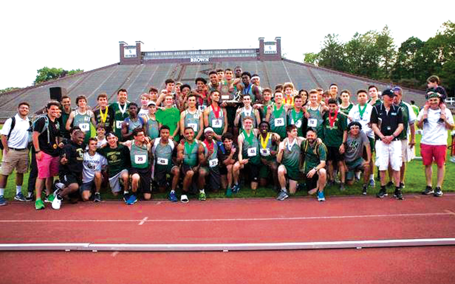 STATE CHAMPS: The 2019 Bishop Hendricken outdoor track and field team.