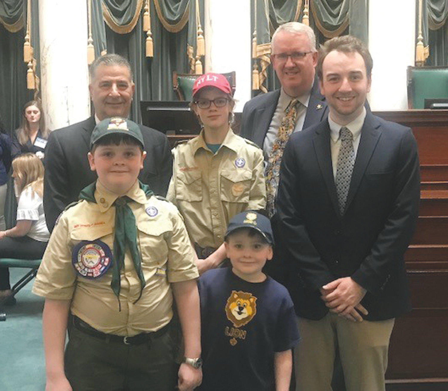 SCOUTS HONORED: Pictured during the Report to State gathering at the State House are, back row from left, Sen. Frank Lombardo, Connor Malone and Scout Executive and CEO Tim McCandless; and front row from left, Jude Ladino, Jesse Ladino and Matt Goudreau, Northwest district executive.
