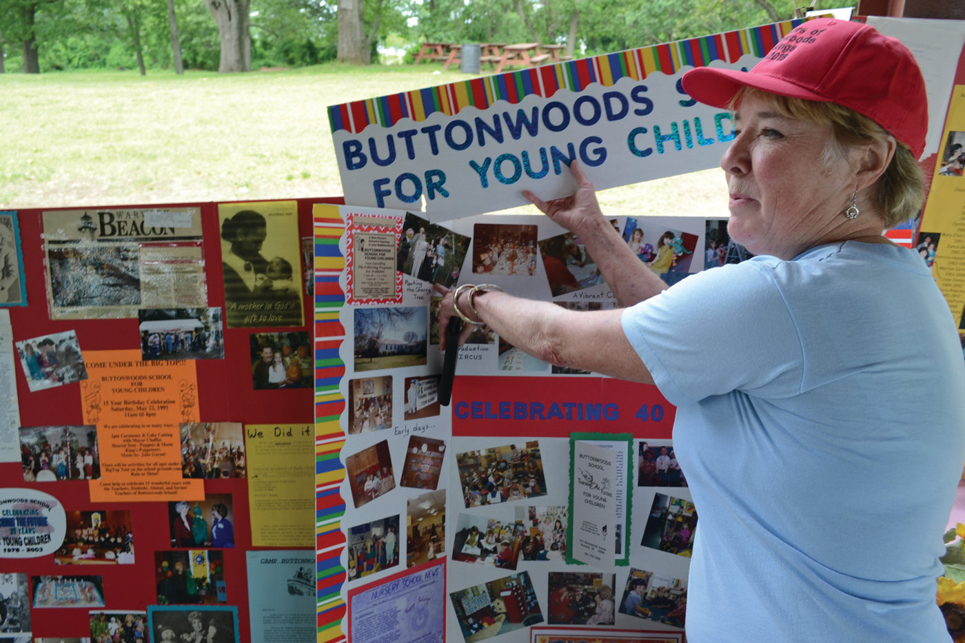 LOTS OF HISTORY: Joyce Ruppell, Buttonwoods School's founder, showed off some historical photos and stories that tell the story of the school's past.