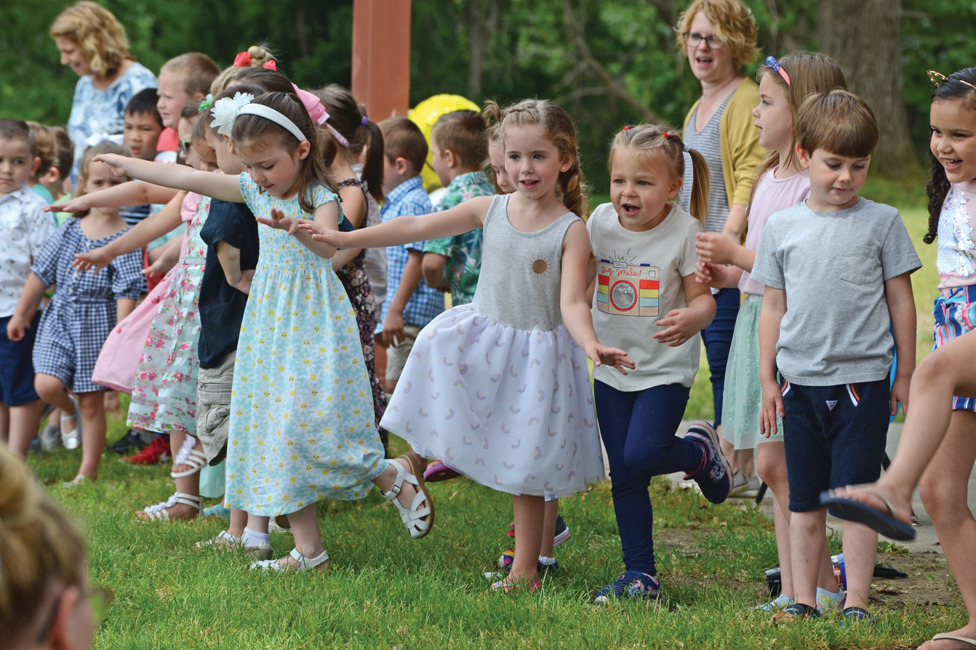 A REASON TO DANCE: Students from the Buttonwoods School had the chance to sing and dance during the school's 40th anniversary celebration on Friday.