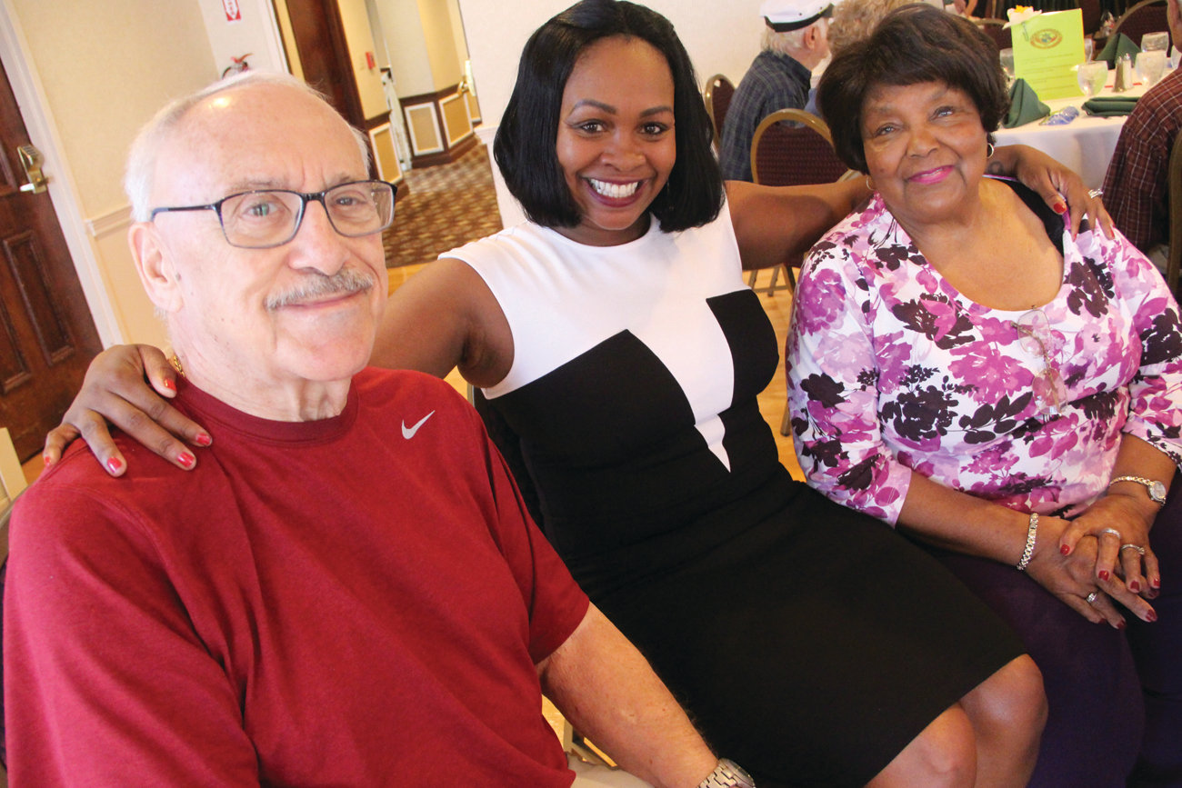 "SERVICE RECOGNIZED: Tanish Simpson, director of Westbay Retired Senior Volunteer Program, or RSVP, is flanked by longtime RSVP members Verteal ""Vertie"" Patterson and Charles Dress at the June 6 recognition lunch."