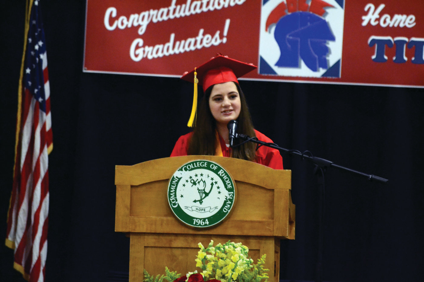 FIND YOUR JOY: Salutatorian Rebecca Carcieri delivers her address on Thursday evening at CCRI.