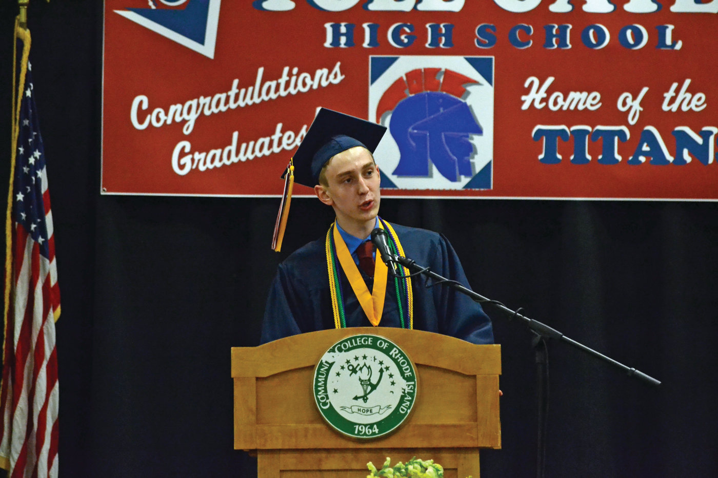 DARE TO REACH: Valedictorian Alexander Gavitt addresses his fellow graduates during Toll Gate's Class of 2019 graduation.