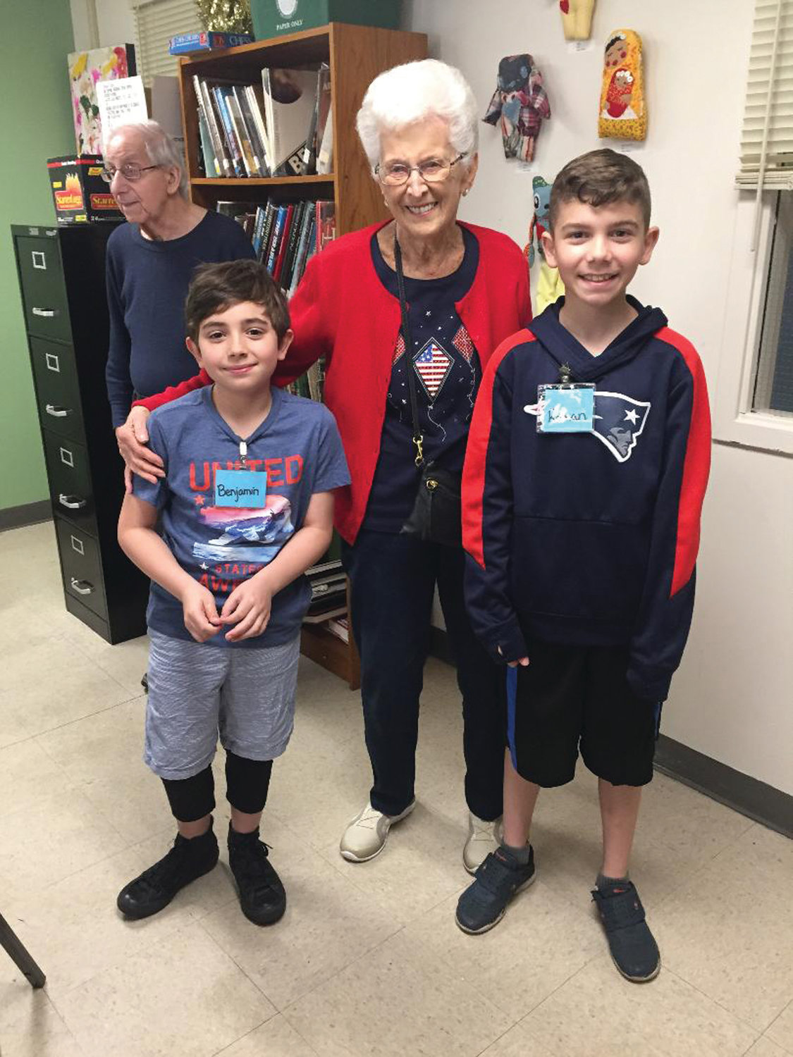 CAN'T THANK THEM ENOUGH: Students from Glen Hills Elementary School had the opportunity to visit and thank veterans at the Cranston Senior Enrichment Center on May 24. Pictured are Tony Cordo, Benjamin Huntoon, Beverly Wareham and Roman Iacobucci.