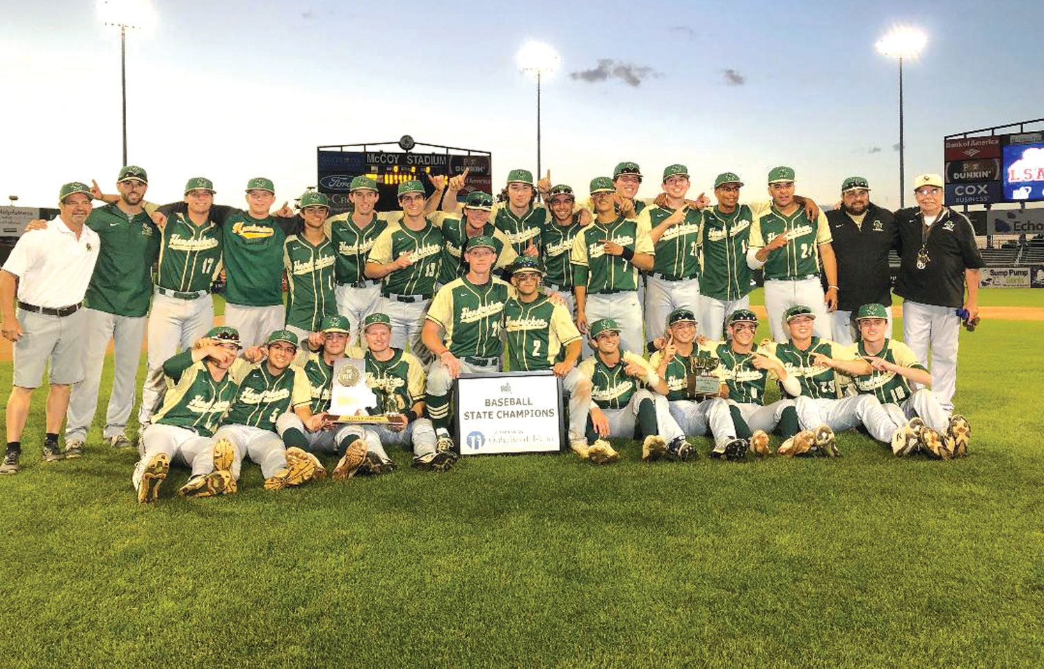 STATE CHAMPS: The 2019 state champion Bishop Hendricken baseball team.