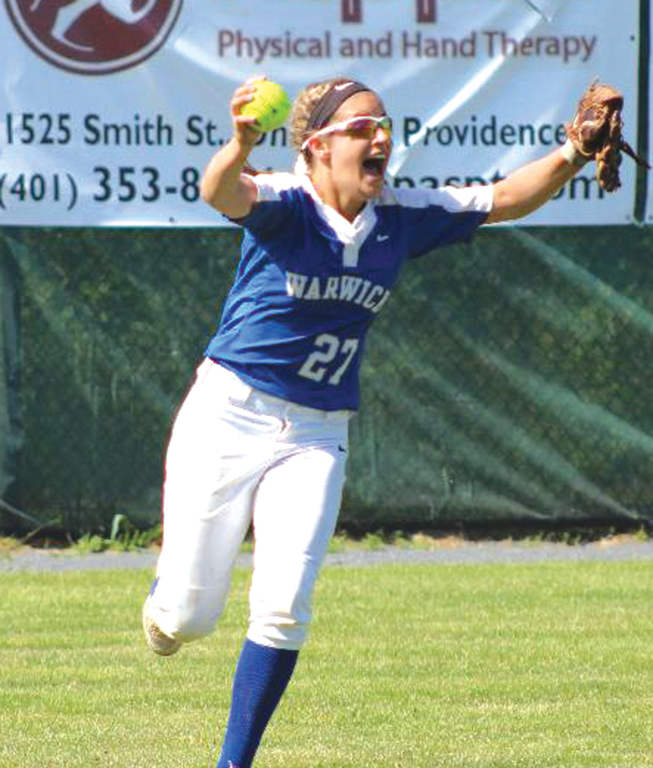 HAULING IT IN: Vets' Rachael Sayler hauls in the final out to secure the title at RIC.