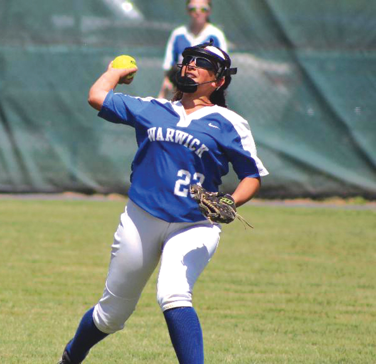 THE THROW TO HOME: Vets' Alayna Medina throws to home in the state championship.
