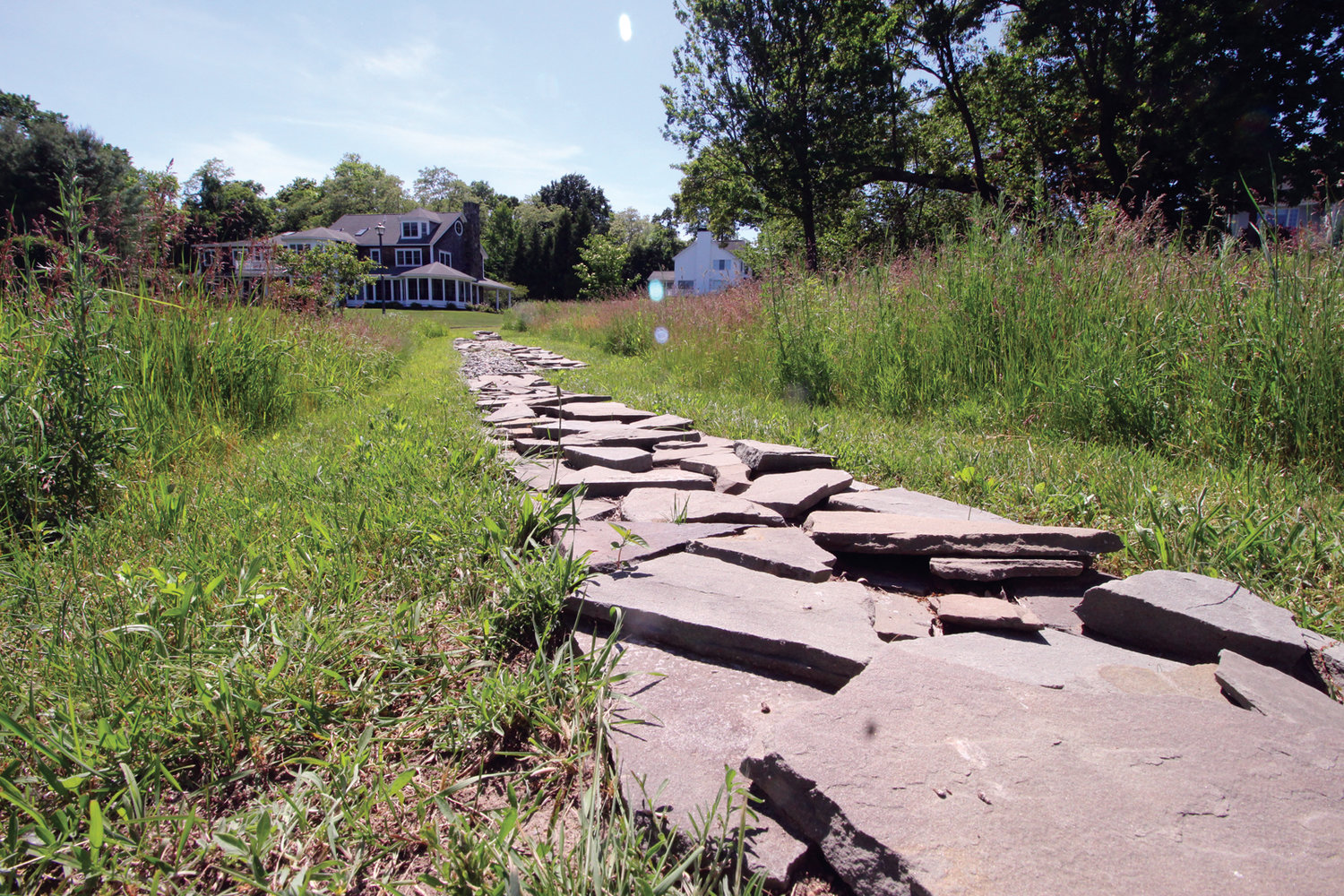 WALKWAY: An artistic feature of the Knights' meadow garden is a loose placed shale walkway.